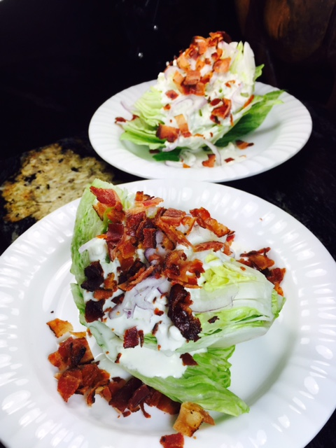 Iceberg wedge salad with blue cheese dressing