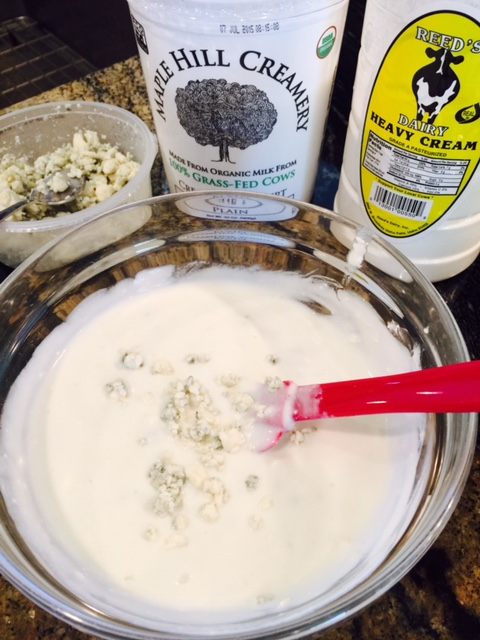 nice and creamy blue cheese dressing, first, mash the blue cheese ...