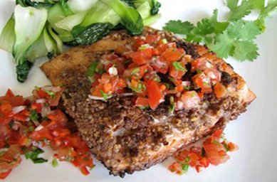 Pecan Coated Salmon with Home-made Tomato Salsa