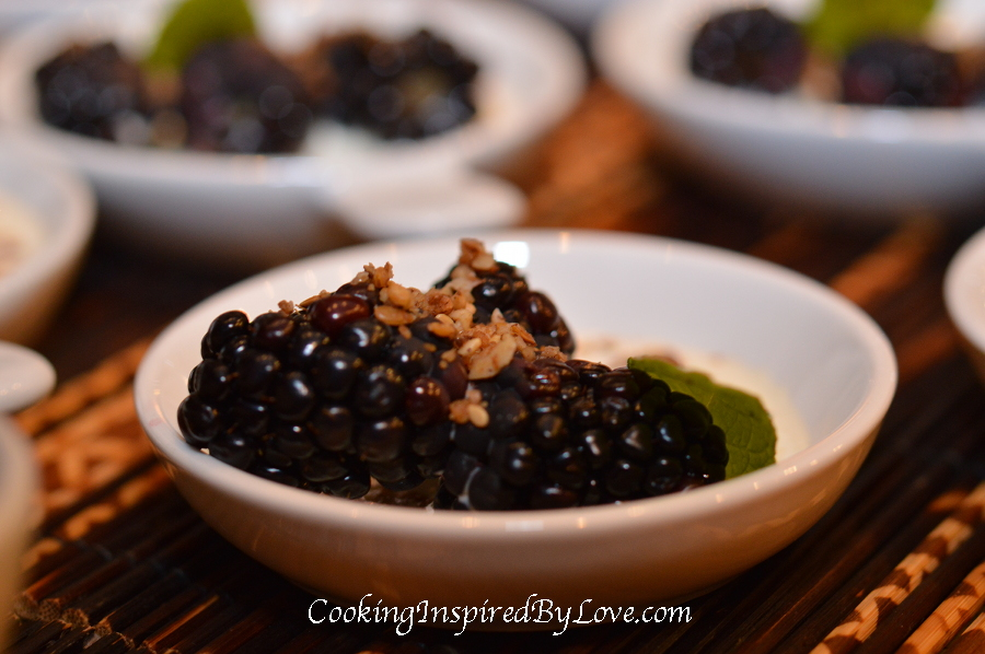 Blackberries with homemade granola