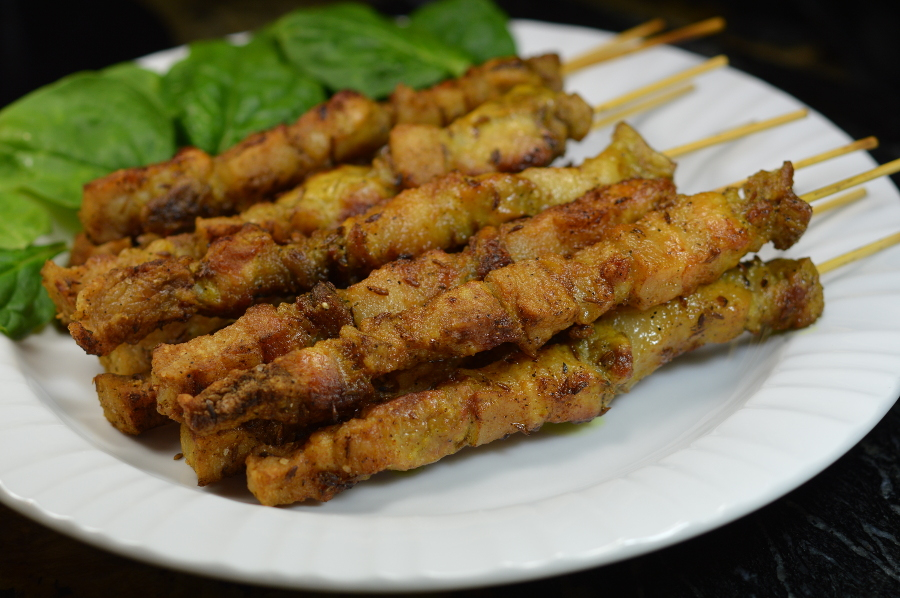 Pork belly satay